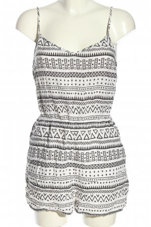 H&M Divided Jumpsuit zwart-wit Patroon-mengeling casual uitstraling