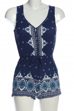 H&M Divided Jumpsuit blau-weiß Allover-Druck Casual-Look