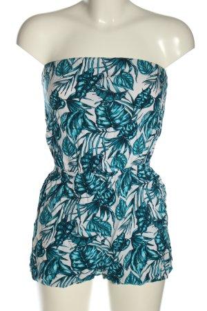 H&M Divided Jumpsuit weiß-blau Blumenmuster Casual-Look