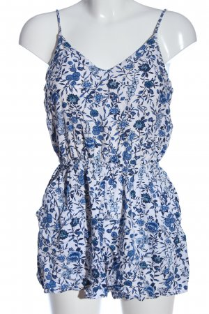 H&M Divided Jumpsuit weiß-blau Allover-Druck Casual-Look