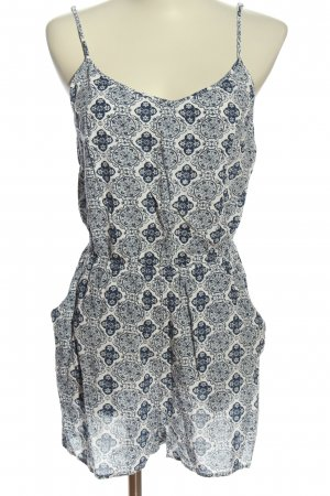 H&M Divided Jumpsuit blau-wollweiß Allover-Druck Casual-Look