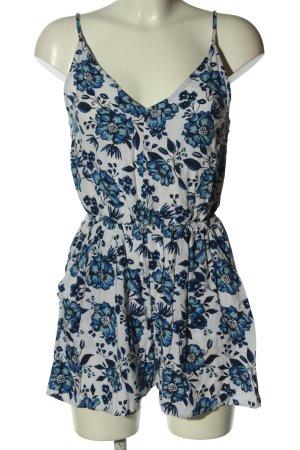 H&M Divided Jumpsuit blau-weiß Blumenmuster Casual-Look