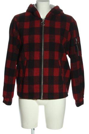 H&M Divided Kurtka z kapturem czarny-czerwony Wzór w kratkę W stylu casual