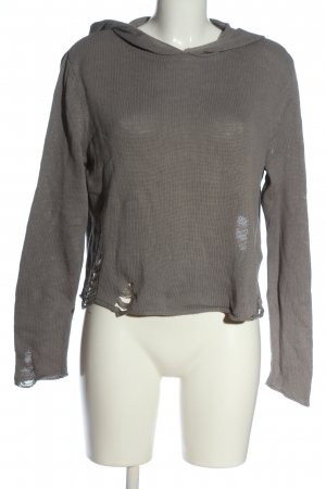 H&M Divided Hooded Sweater light grey cable stitch casual look