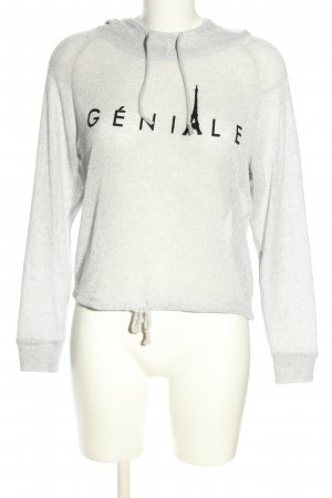 H&M Divided Kapuzenpullover weiß-schwarz Schriftzug gedruckt Casual-Look