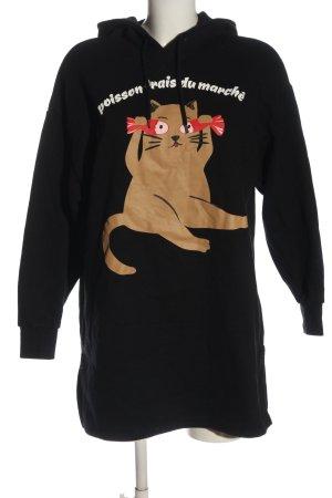H&M Divided Sweat à capuche noir-brun imprimé avec thème style décontracté