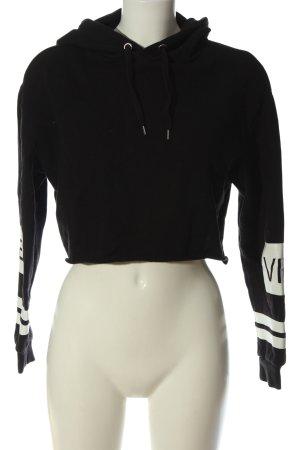 H&M Divided Kapuzensweatshirt schwarz-weiß Schriftzug gedruckt Casual-Look