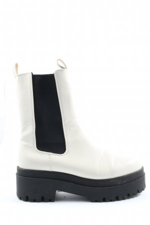 H&M Divided Botas de cuña blanco-negro look casual