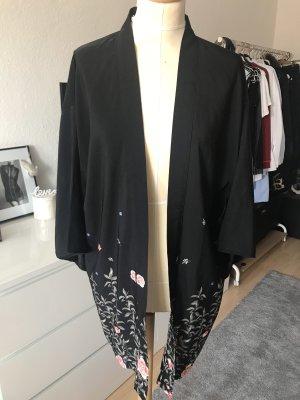 H&M Divided Kimono Schwarz mit Blumenmuster