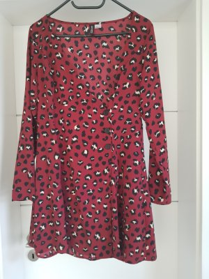 H&M Divided Kleid rot Leo Muster Gr.40