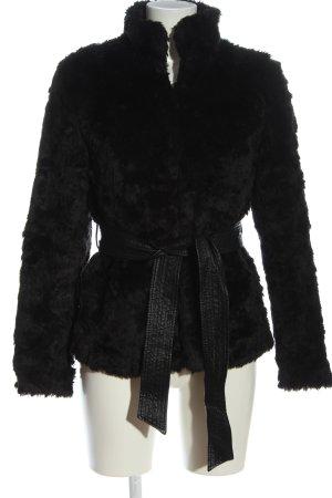 H&M Divided Manteau en fausse fourrure noir élégant
