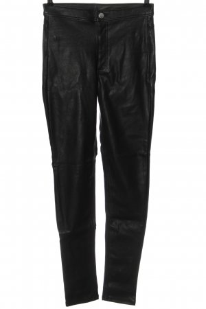 H&M Divided Faux Leather Trousers black casual look