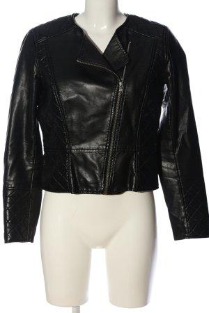 H&M Divided Kurtka z imitacji skóry czarny Pikowany wzór W stylu casual