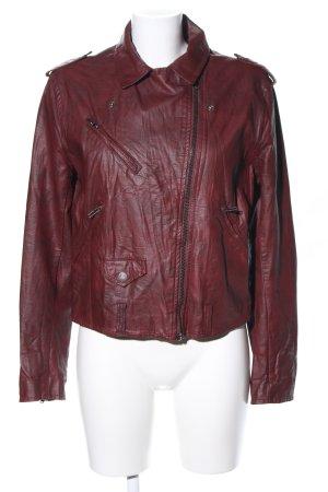 H&M Divided Chaqueta de cuero de imitación rojo look casual