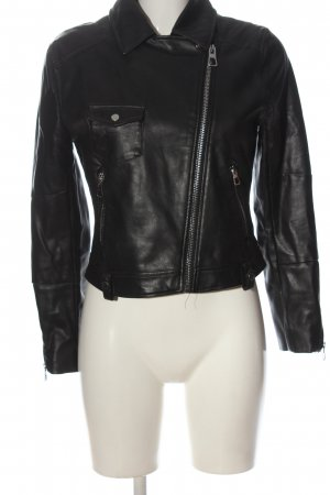H&M Divided Kurtka z imitacji skóry czarny W stylu casual