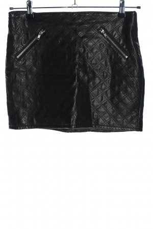 H&M Divided Faux Leather Skirt black quilting pattern casual look