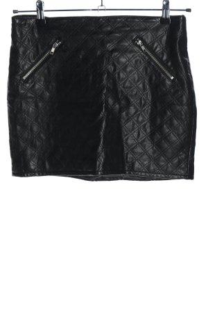 H&M Divided Spódnica z imitacji skóry czarny Pikowany wzór W stylu casual