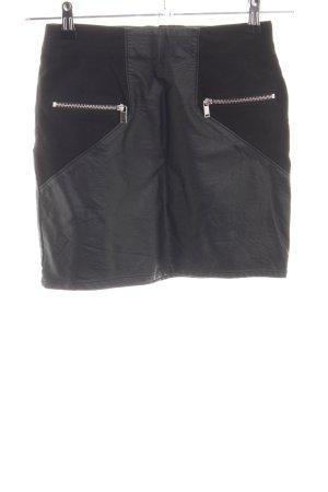 H&M Divided Rok van imitatieleder zwart casual uitstraling