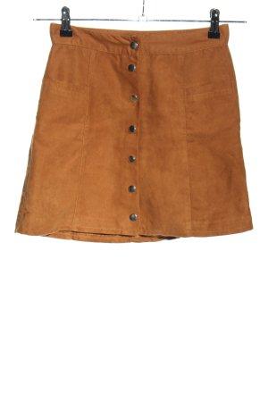 H&M Divided Falda de cuero de imitación marrón look casual