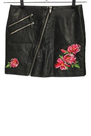 H&M Divided Spódnica z imitacji skóry czarny-czerwony Wzór w kwiaty