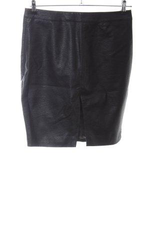 H&M Divided Spódnica z imitacji skóry czarny Tkanina z mieszanych włókien