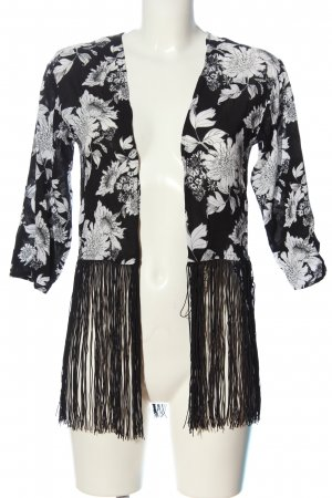 H&M Divided Kurz-Blazer schwarz-weiß Blumenmuster Casual-Look