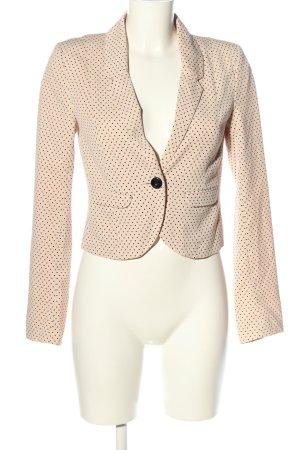 H&M Divided Kurz-Blazer creme-schwarz Allover-Druck Business-Look