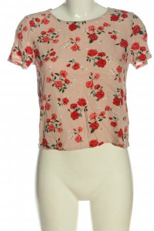 H&M Divided Kurzarm-Bluse nude-rot Allover-Druck Casual-Look