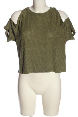 H&M Divided Kurzarm-Bluse khaki meliert Casual-Look