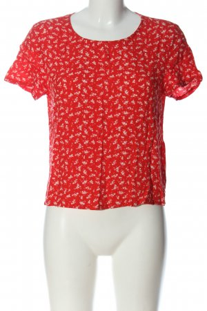 H&M Divided Kurzarm-Bluse rot-weiß Allover-Druck Casual-Look