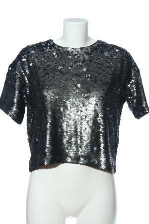 H&M Divided Kurzarm-Bluse schwarz-silberfarben extravaganter Stil