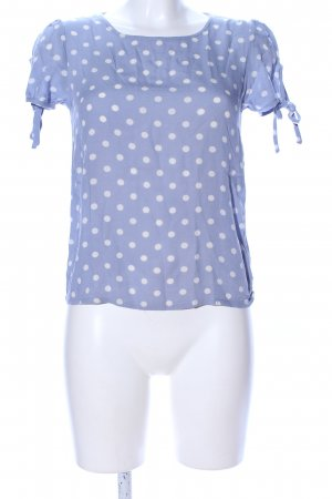 H&M Divided Kurzarm-Bluse blau-weiß Punktemuster Casual-Look