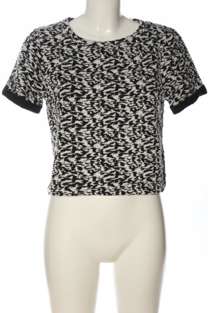 H&M Divided Kurzarm-Bluse schwarz-wollweiß abstraktes Muster Casual-Look