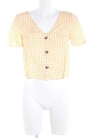 H&M Divided Kurzarm-Bluse blassgelb-weiß Allover-Druck Casual-Look