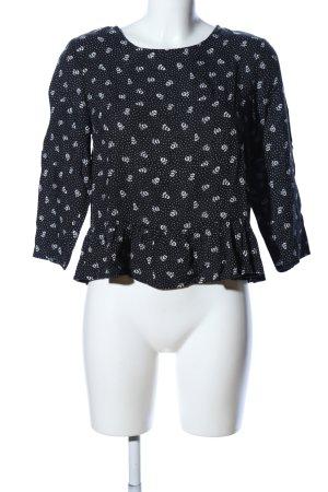 H&M Divided Kurzarm-Bluse schwarz-weiß Allover-Druck Casual-Look