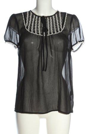 H&M Divided Kurzarm-Bluse schwarz klassischer Stil