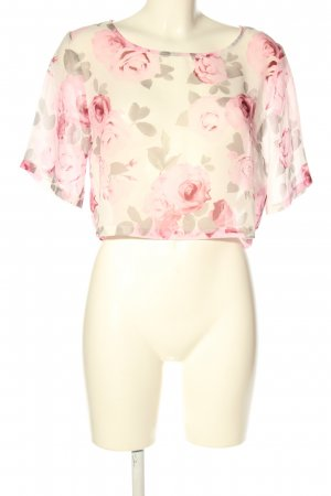 H&M Divided Kurzarm-Bluse creme-pink Allover-Druck Casual-Look