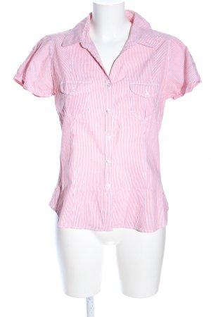 H&M Divided Kurzarmhemd pink-weiß Streifenmuster Business-Look