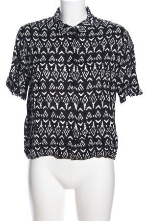 H&M Divided Camicia a maniche corte nero-bianco stampa integrale stile casual