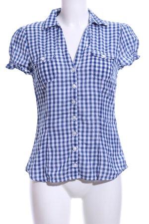 H&M Divided Kurzarmhemd blau-weiß Karomuster Business-Look