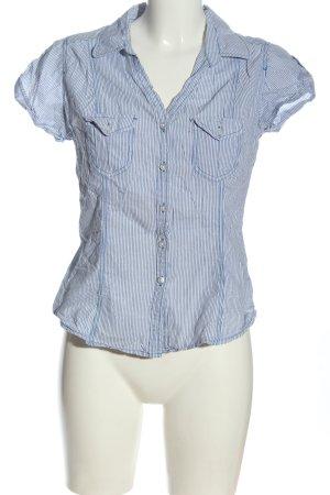 H&M Divided Kurzarmhemd weiß-blau Streifenmuster Casual-Look