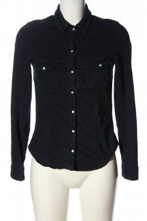 H&M Divided Kurzarmhemd schwarz Casual-Look