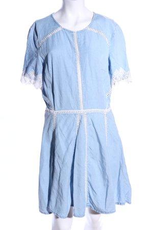 H&M Divided Kurzarmkleid blau-weiß Casual-Look