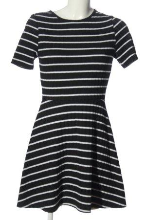H&M Divided Kurzarmkleid schwarz-weiß Streifenmuster Casual-Look