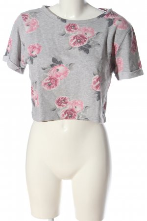 H&M Divided Kurzarmpullover hellgrau-pink Blumenmuster Casual-Look