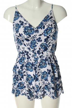 H&M Divided Kurzer Jumpsuit weiß-blau Allover-Druck Casual-Look