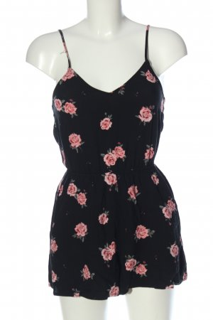 H&M Divided Kurzer Jumpsuit black-pink flower pattern casual look