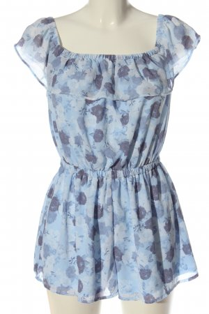H&M Divided Kurzer Jumpsuit blue-white allover print casual look