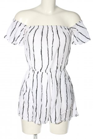 H&M Divided Kurzer Jumpsuit white-black allover print casual look