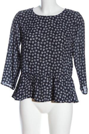 H&M Divided Long Sleeve Blouse blue-white allover print elegant